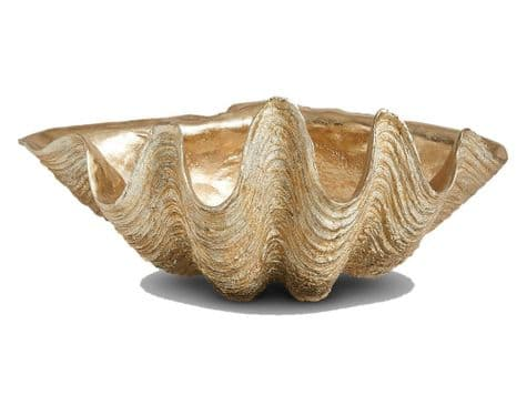 large decorative gold shell | giant gold clam shell ornament
